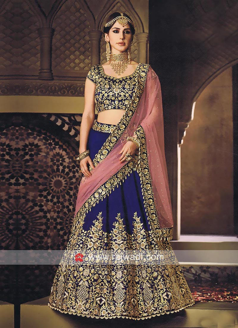 Raw Silk Heavy Embroidered Lehenga Set