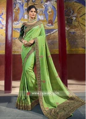 Raw Silk Heavy Wedding Saree