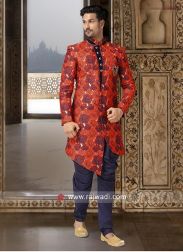 Attractive Red Printed Indo Western