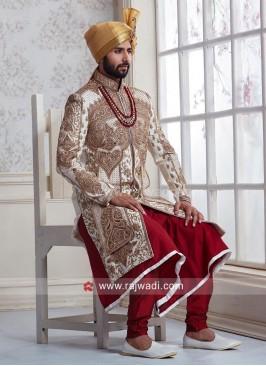 Raw Silk High Neck Embroidered Sherwani
