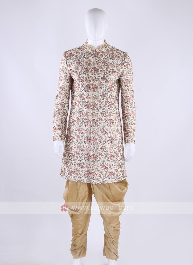 Raw silk indo-western in cream color