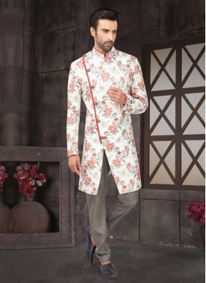 Raw Silk Indo-Western In White Color
