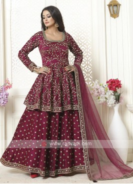 Raw Silk Indowestern Choli Suit