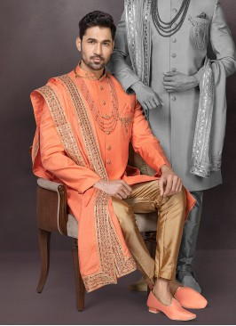 Raw Silk Indowestern In Orange Color