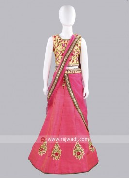 Raw Silk Kids Choli Suit