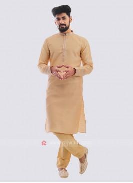 Raw Silk Kurta Pajama In Beige