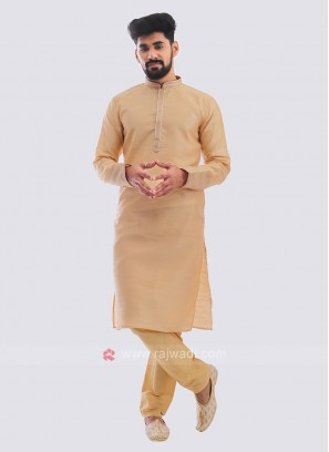 Raw Silk Kurta Pajama In Beige