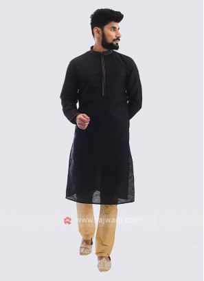 Raw Silk Kurta Pajama In Black