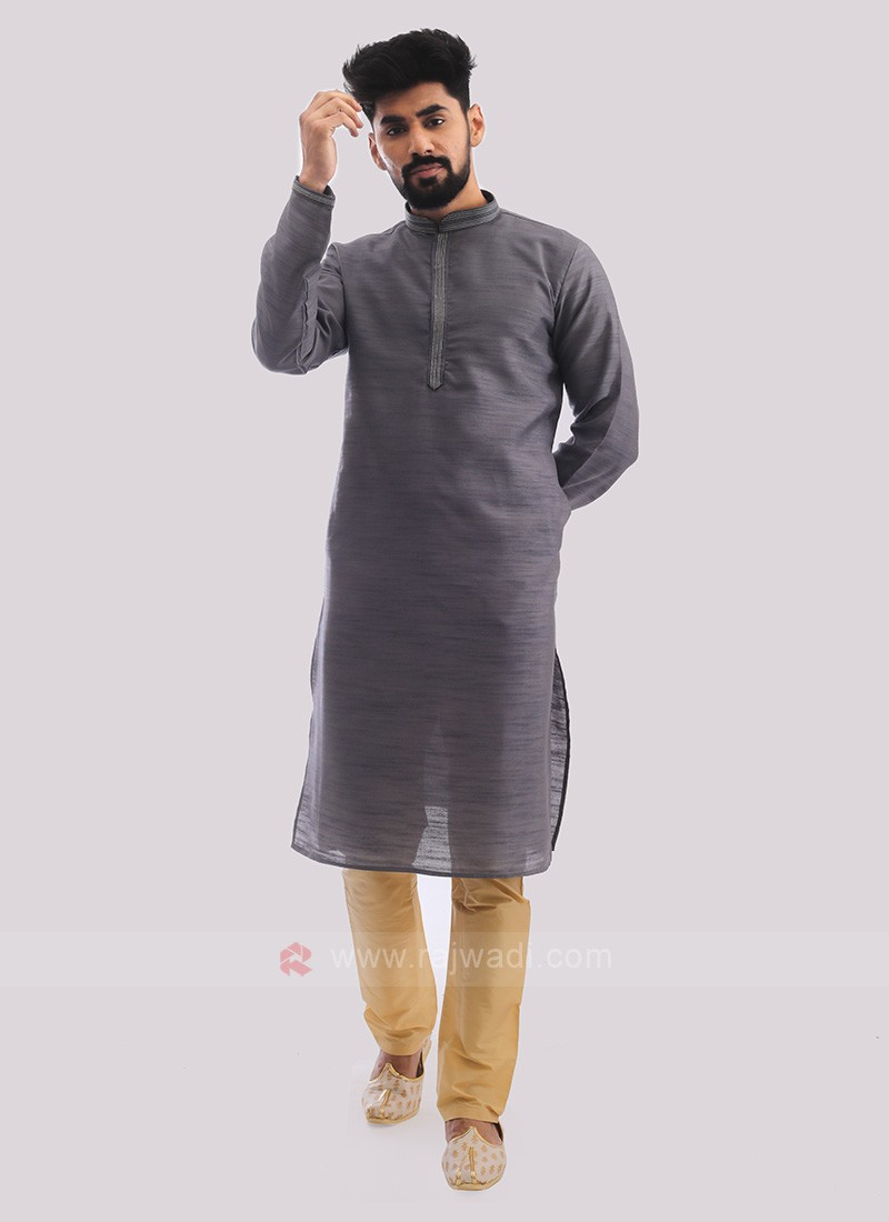 Raw Silk Kurta Pajama In Grey