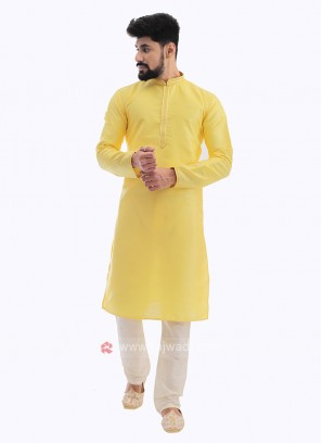 Raw Silk Kurta Pajama In Lemon Yellow