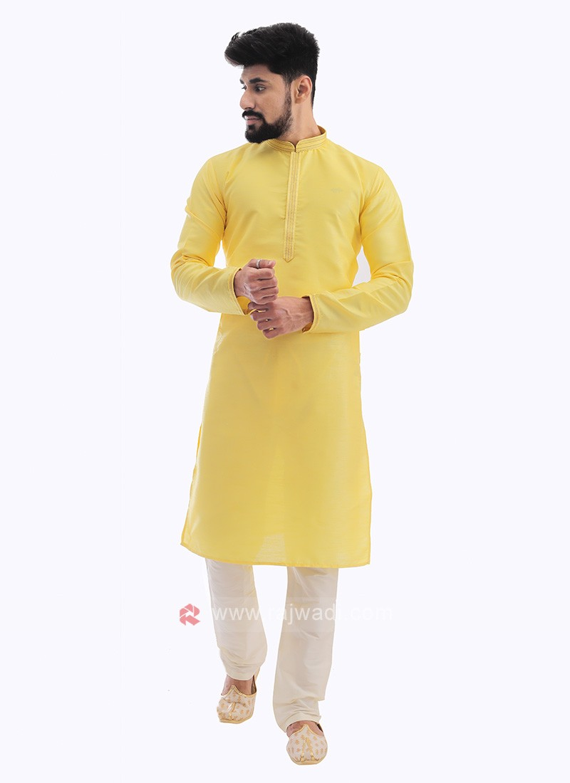 Raw Silk Kurta Pajama In Lemon Yellow