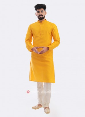 Raw Silk Kurta Pajama In Mustard Yellow
