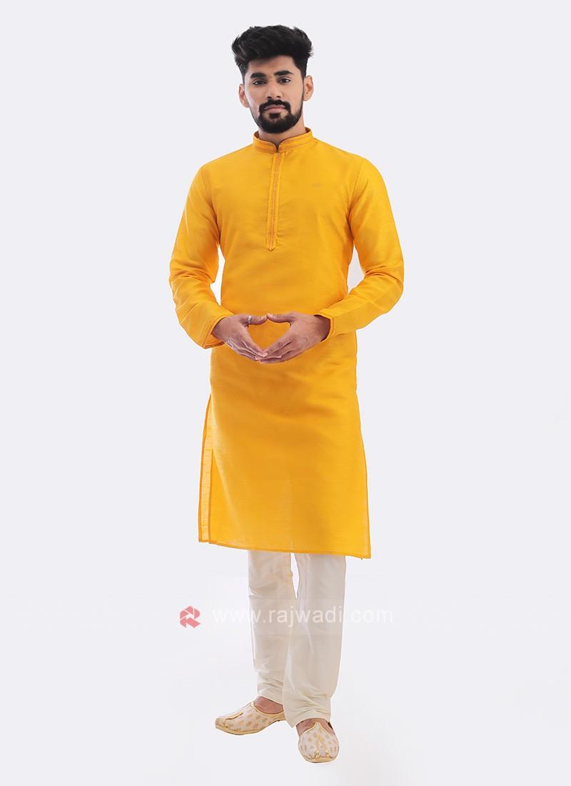 Raw Silk Kurta Pajama In Mustard Yellow