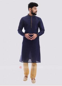 Raw Silk Kurta Pajama In Navy Blue