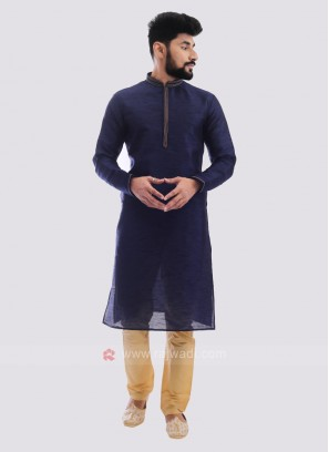 Raw Silk Kurta Pajama In Navy Blue