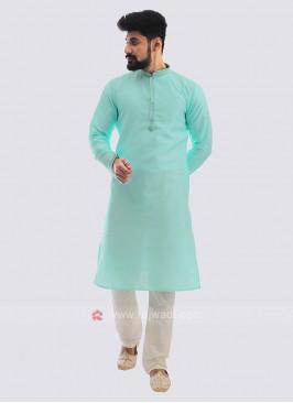 Raw Silk Kurta Pajama In Sea Green
