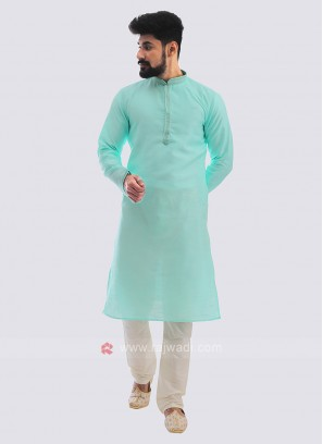 Raw Silk Kurta Pajama In Sea Green