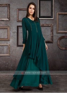 Raw Silk Kurti In Bottle Green