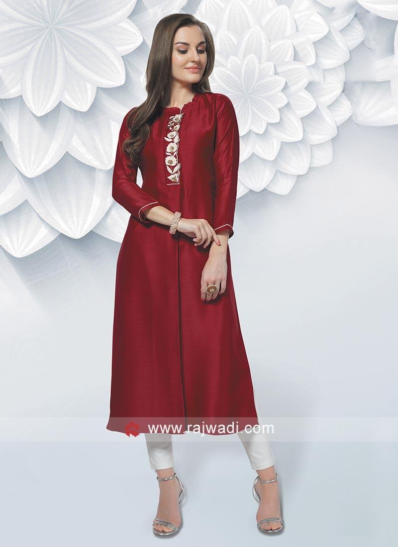 Raw Silk Kurti In Dark Red