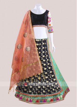 Raw Silk Kutchi Work Chaniya Choli