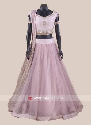 Raw Silk Lavender Lehenga Choli