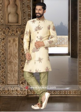 Flower Work Cream Color indo Western