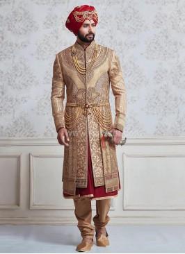 Raw Silk Layered Mughal Style Sherwani