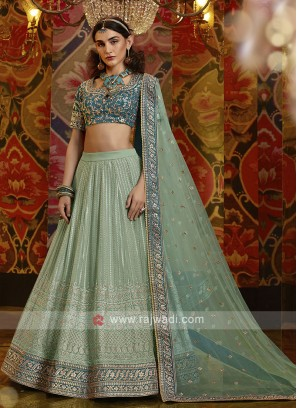 Raw Silk Lehenga Choli In Pista Green