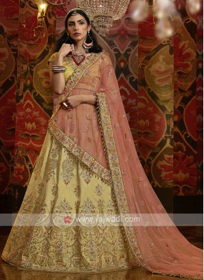 Raw Silk Lehenga Choli In Yellow