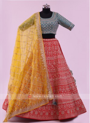 Raw Silk Lehenga Choli With Dupatta