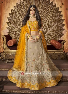 Raw Silk Lehenga Choli with Net Dupatta