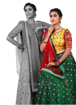 Raw Silk Lehenga with Choli and Dupatta