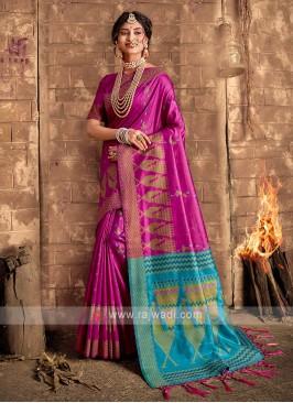 Raw Silk Magenta Saree
