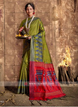 Raw Silk Mehndi Green Saree