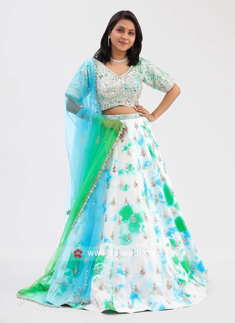 Raw Silk Mirror Work Choli Suit