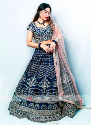 Raw Silk Navy Blue Lehenga Choli
