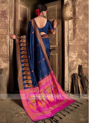 Raw Silk Navy Blue Saree