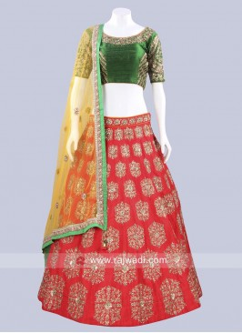 Raw Silk Oxidize Work Lehenga Set