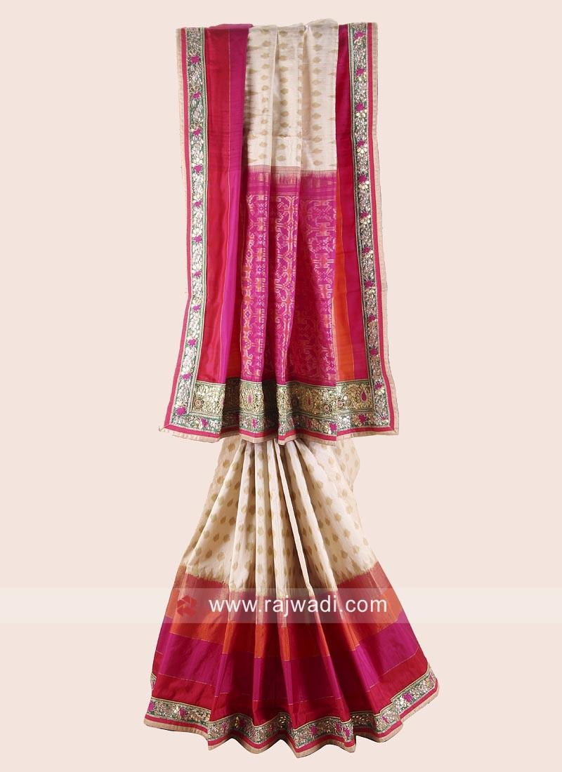 Raw Silk Patola Saree with Blouse