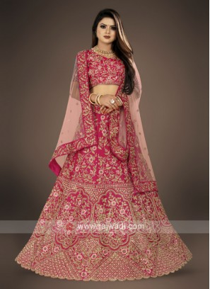 raw silk pink Lehenga Choli for bridal