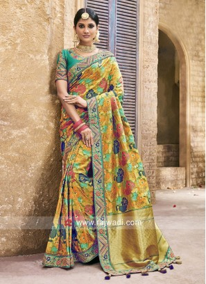 Raw Silk Pita Work Heavy Saree