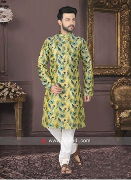 Raw Silk Printed Kurta Pajama