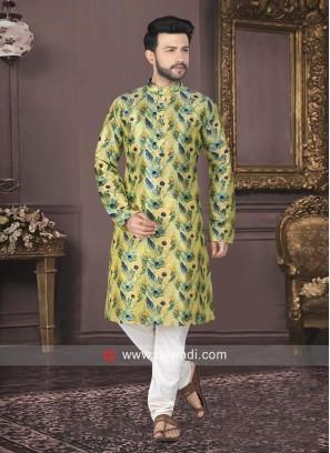 Raw Silk Printed Kurta Pajama