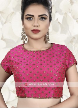 Raw Silk Ready Choli In Pink