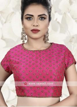 Raw Silk Ready Choli In Pink