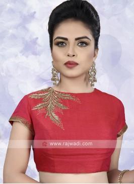 Raw Silk Ready Choli In Red