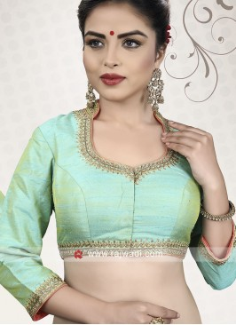 Raw Silk Ready Choli In Sea Green