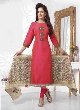 Raw Silk Readymade Dress with Banarasi Dupatta