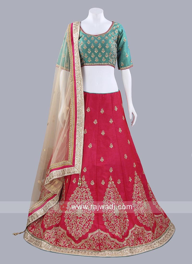 Raw Silk Readymade Lehenga Choli