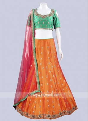 Raw Silk Readymade Lehenga Set